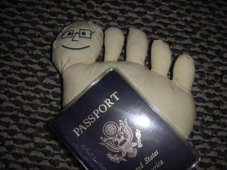 Toe-riffic Traveling Toe: Have passport. Will travel.