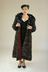 Faux Fur jacket made from VCR tape.