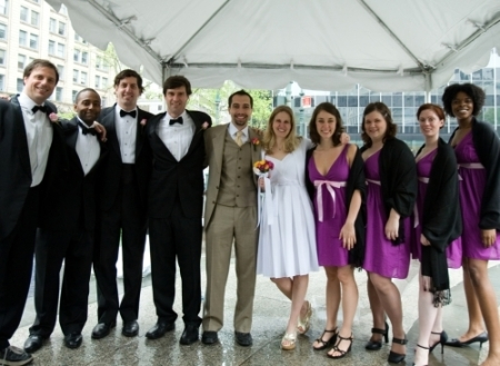 As this couple was leaving their courthouse ceremony, Improv Everywhere invited them to an improv reception complete with champagne, cake and a wedding party.