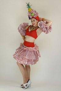 Carmen Miranda-styled ensemble made from Target bags.