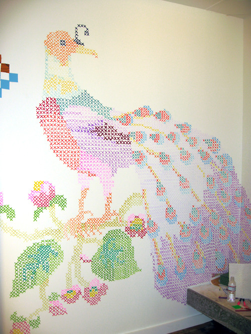 Cross stitch wall mural deep fried creative for Cross stitch wall mural