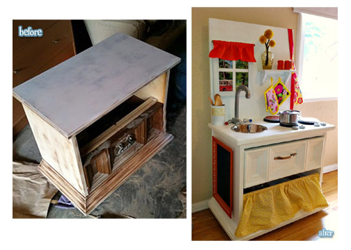 Diy play kitchens deep fried creative - Fabriquer cuisine enfant ...